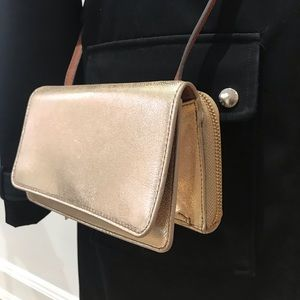 Fossil soft gold leather crossbody with wallet